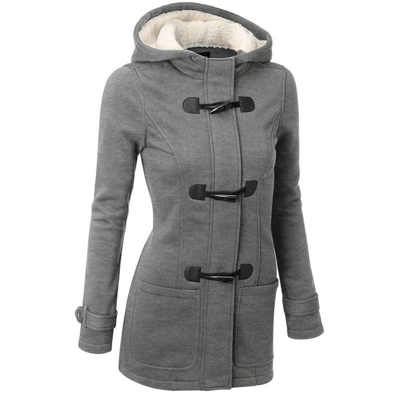 Femmes Trench-Coat 2016 Printemps Automne Femmes Manteau Long Manteau À Capuche Zipper Corne Bouton Outwear