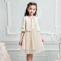 Çiçek kız elbise düğün İçin marka elbise ve ceket iki parçalı set boyutu 5 6 7 8 9 10 11 12 13 14 15 16 yaş gençler çocuk