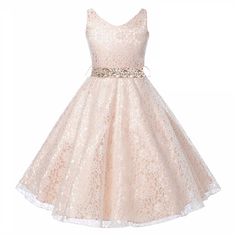 New Year Sequins Girl Dress+Belt Sleeveless Princess Lace Dress V Neck Baby Girls Vestido Christmas Party For Girls Clothes v neck sleeveless beading decorative party dress