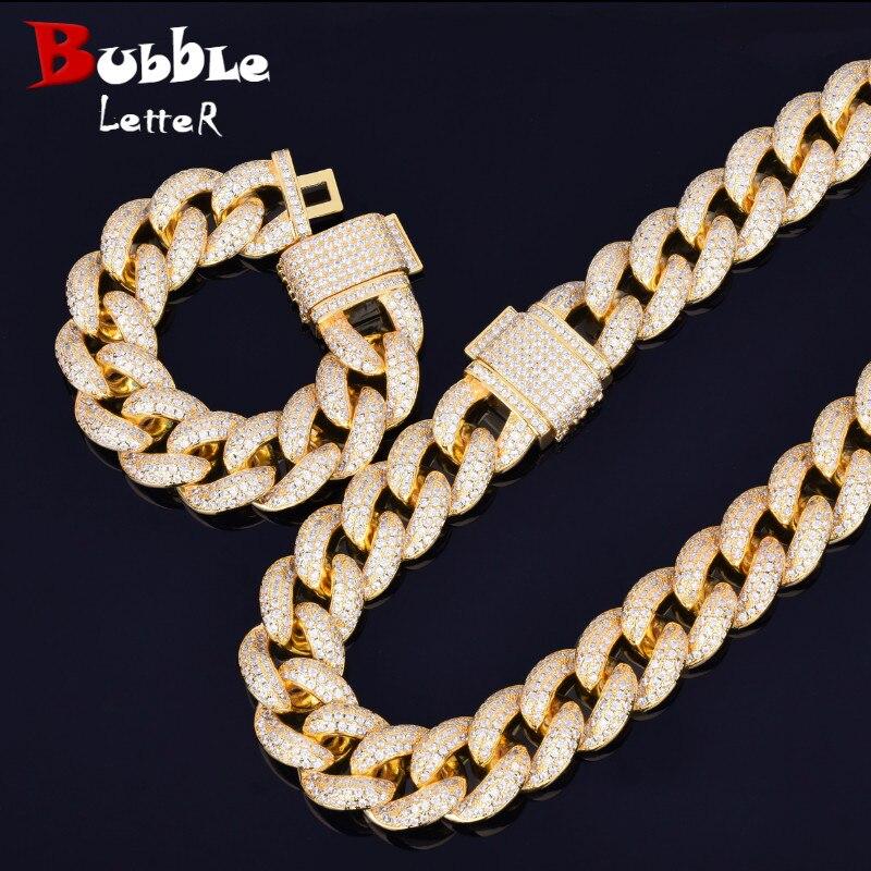 Schwere Miami Kubanischen Kette mit Armband & Halskette Set Bling Zirkonia Gold Silber 23mm Große Halsband männer hip hop Rock Schmuck-in Kette Halsketten aus Schmuck und Accessoires bei  Gruppe 1