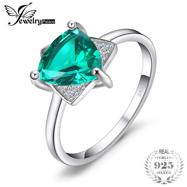 JewelryPalace Triangle Shape 1.68ct Created Emerald Engagement Ring Charm S925 S
