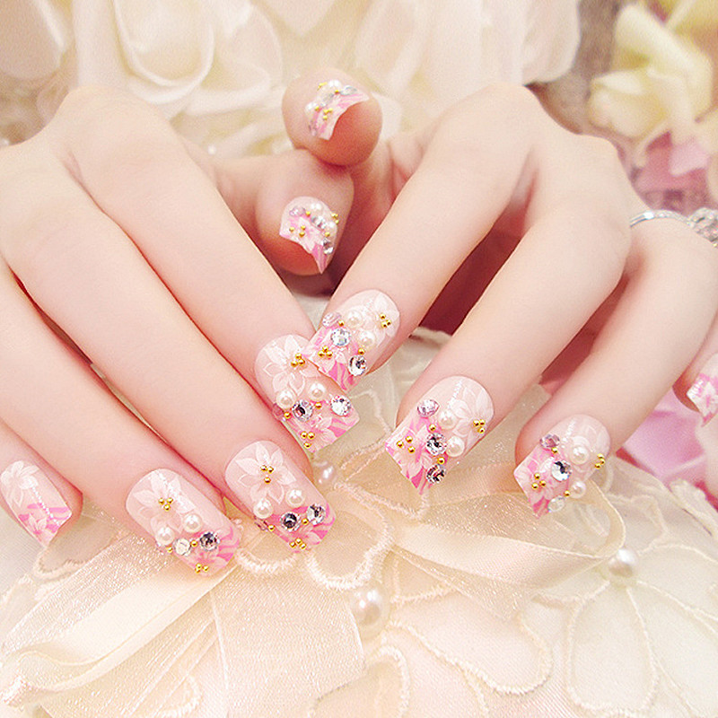 Aliexpress 2017 Printing Fake Nails Acrylic Long Design False With Glue Sticker 24pcs Faux Ongles Y Press On Manicure Beauty From
