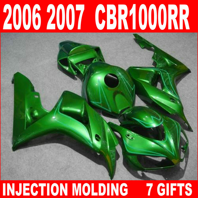 New hot moto parts fairing kit for Honda CBR1000RR 06 07 green injection mold fairings set CBR1000RR 2006 2007 RA17 injection mold fairing for honda cbr1000rr cbr 1000 rr 2006 2007 cbr 1000rr 06 07 motorcycle fairings kit bodywork black paint