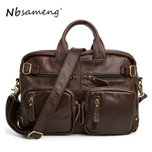 NBSAMENG 100% Genuine Leather Men Handbag Brand Designed Casual Travel Bag Messenger Bags Large Briefcase Vintage Laptop