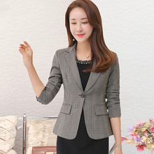 2020 Autumn Korean Version Women Gray Suit  New Style Winter One Button Long Sleeve Designs Female Work Wear Fashion Slim Tops spring korean version chiffon women white shirt 2019 new style autumn fashion stand collar work wear female slim bottom blouses