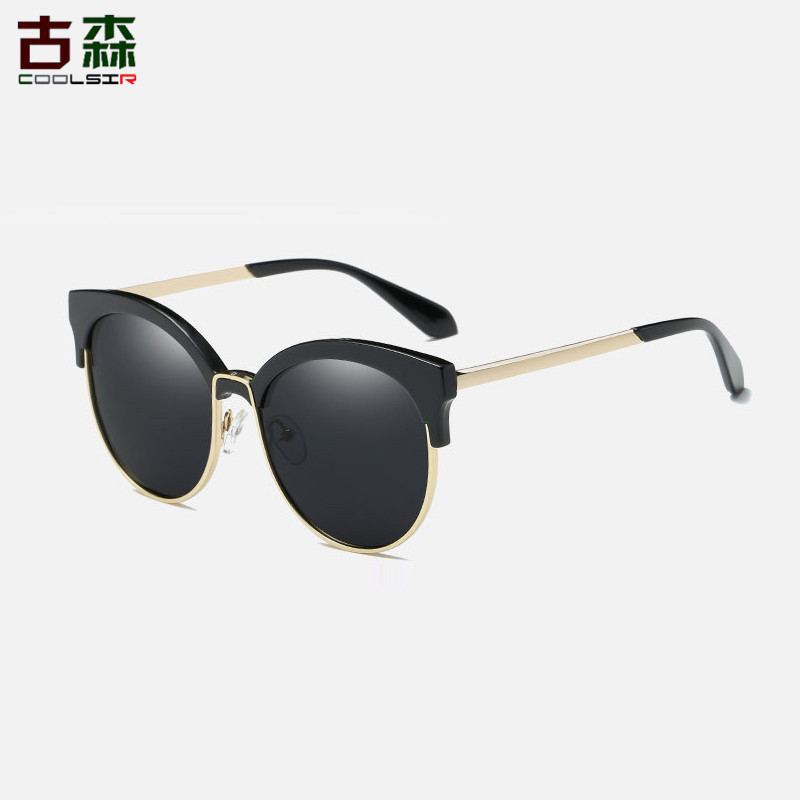 COOLSIR Retro Rivet Polarized Sunglasses Women Men Brand Designer Unisex Sun Glasses Half Frame font b