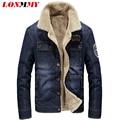 LONMMY M-4XL Denim men jacket Velvet Lapel collar 2016 Winter Jeans jacket men coat casual Slim fit cowboy coats men 2016 velvet