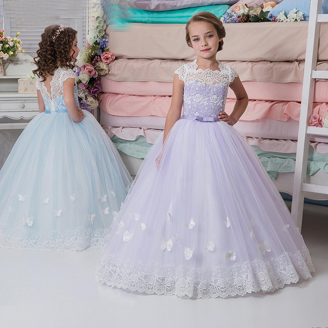 013968205b877a Pretty Lavender Flower Girl Dresses Cap Sleeve Tulle Lace Ball Gown  Children Evening Dress with Butterfly Kids Prom Dresses