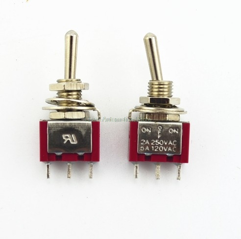 Image 2 - wholesale 10Pcs Red 3 Pin 3 Position (ON) OFF (ON) SPDT Mini Momentary Toggle Switch Automatic Return Middle-in Switches from Lights & Lighting