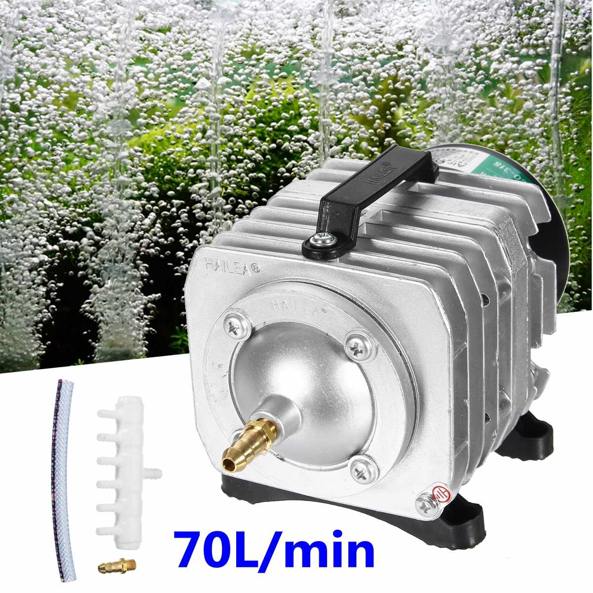 45W 220V 70L/min Electromagnetic Air Compressor Pump Oxygen Aquarium Fish Pond Compressor Hydroponic Air Aerator Pump ACO-318