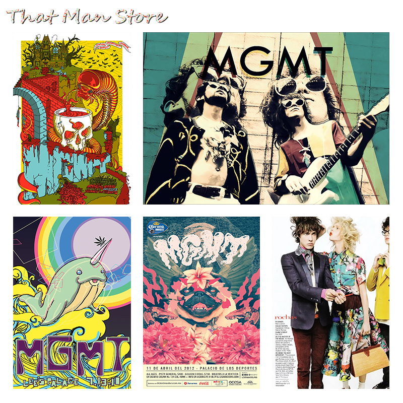 MGMT Psychedelic Synthpop Home Furnishing Decoration Kraft Acid Rock Music Poster Drawing Core Wall Stickers 30*21cm