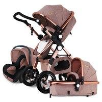 Европейская детская коляска 3 в 1, детская коляска 3 в 1, высокая пейзаж складные коляски для детей дорожные сумки Системы, коляски для новорож