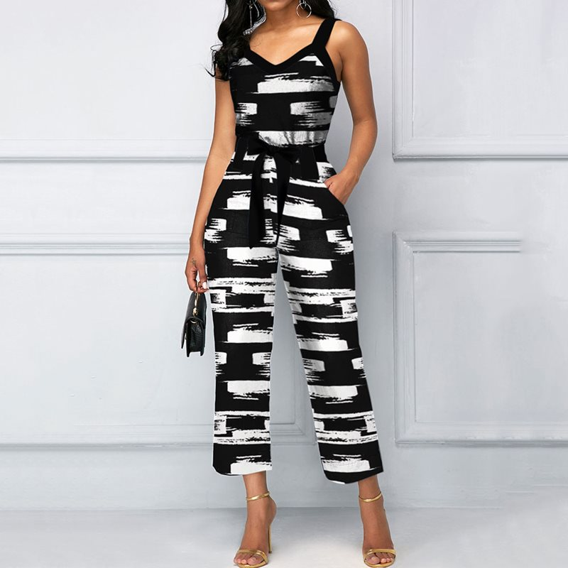 African Casual Sexy Club Black Chic Office Ladies Womens   Jumpsuits   Slim Print Plus Size Backless Summer Female Fashion Rompers