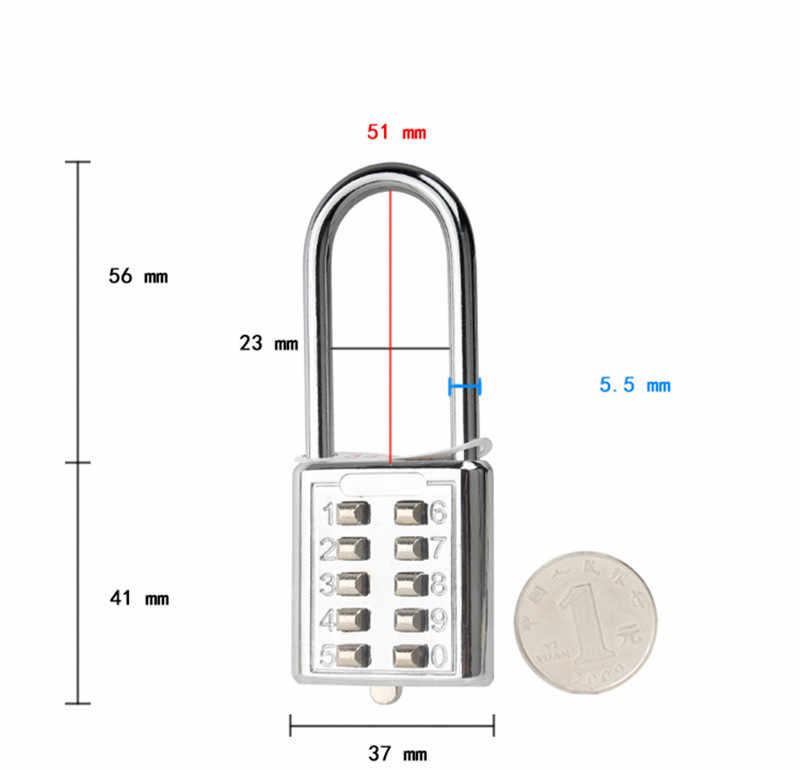 Большой Размеры 5 цифр серебро Кнопка кодовый замочек замок номер Чемодан путешествия кодовый замок, аксессуары для путешествий