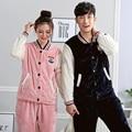 2016 Winter Couples Flannel Pyjama Femme Sleepwear Coral Fleece Lovers Pajamas Mujer Women/Men Pajama Sets Casual Homewear