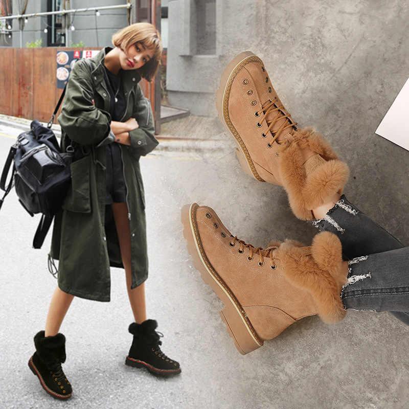 SWYIVY מרטין מגפי נעלי אישה ארנב פרווה חם קטיפה 2019 החורף חדש נקבה נעליים מזדמנים אמיתי עור שלג מגפיים גבוהה למעלה