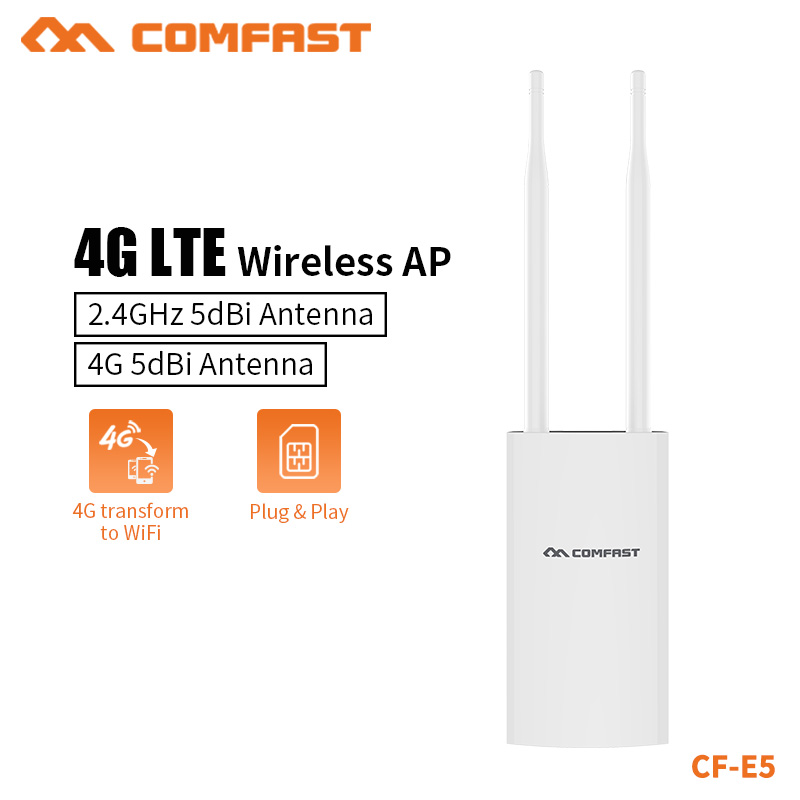 COMFAST Nouvelle Haute Vitesse En Plein Air 4G LTE point d'accès sans fil routeur WiFi Plug and Play 4G SIM Carte Portable routeur sans fil WiFi CF-E5
