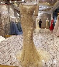 Nach Maß 100% Real Photo Meerjungfrau Halbe Hülse Goled Tüll Pailletten Perlen Pailletten Kristall Sexy Luxus Abendkleider BY25M