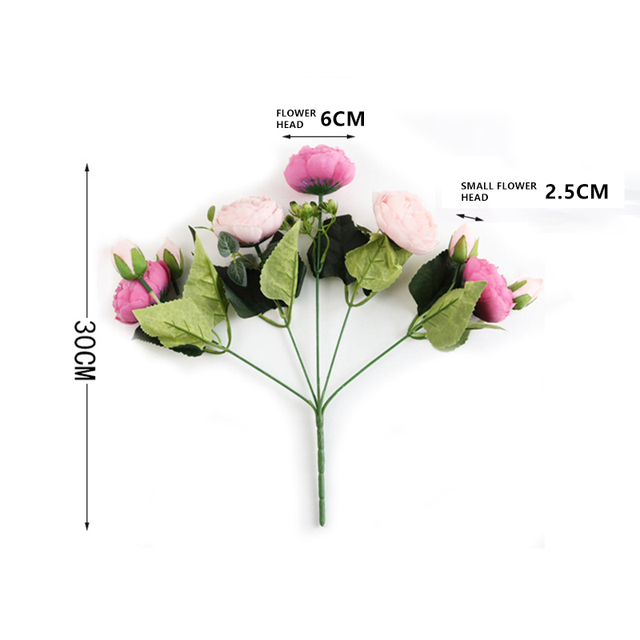1 bundle Silk Peony bouquet home decoration accessories wedding Party scrapbook fake plants diy pompons artificial roses flowers 6