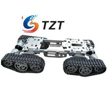 WZY569 Intelligence RC Tank Car Truck Robot Chassis 393mmx206mmx84mm CNC Alloy Body 4 Plastic Tracks 4 Motors