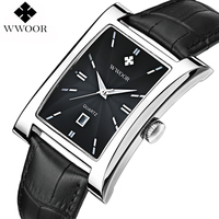 2016 Luxury Brand Date Rectangle Genuine Leather Strap Waterproof Casual Quartz Watch Men Sports Wrist Watch