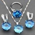 925 Joyas de Plata Conjuntos Con Natural Mystic Azul Creado topacio Pendientes/Colgante/Collar/Anillo Para Las Mujeres Regalo libre TZ21