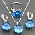 925 Sterling Silver Jewelry Sets With Mystic Natural Blue Created topaz  Earrings/Pendant/Necklace/Ring For Women Free Gift TZ21