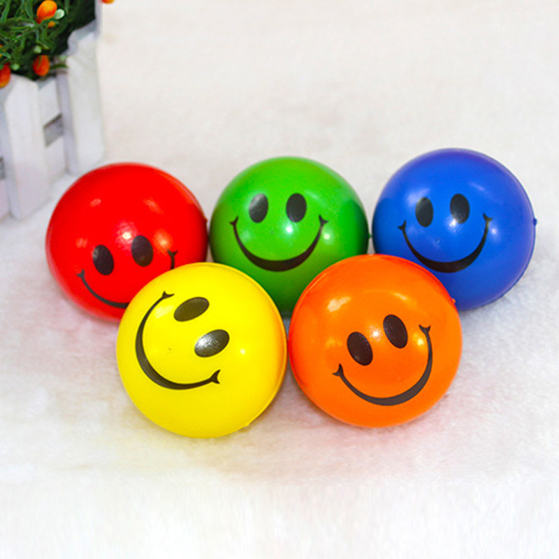 Smile Face Print Sponge Foam Squeeze Stress Ball Relief Yoga Gym Fitness Toy Hand Wrist Exercise PU Rubber Toy Balls  YH
