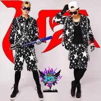 Male singer male jacket dj costume personality hip hop hiphop hip hop costume print coat bar ds stage dress tide