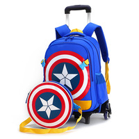 New Primary School Trolley Bags Captain America Children Anime Backpack Schoolbag Child With Wheels School Bags