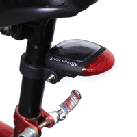 Solar Energy Bicycle Rear Light Red Led Seatpost Tail Lights MTB Mountain Bike Taillights Rechargeable Lamp