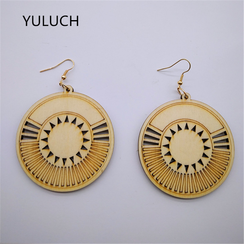Good Quality African Unfinished Round Jewelry Earrings Wood Pair 2017 New Design Personality Hollow Latest