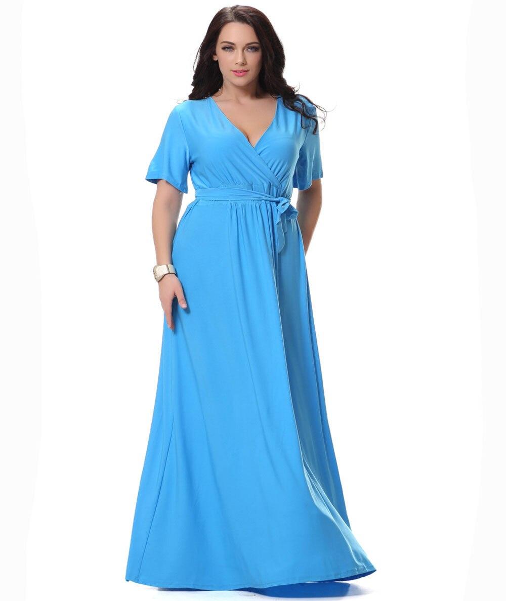 Larger Ladies Apparel Blue Short Sleeve Long Maxi Dress Elegant ...