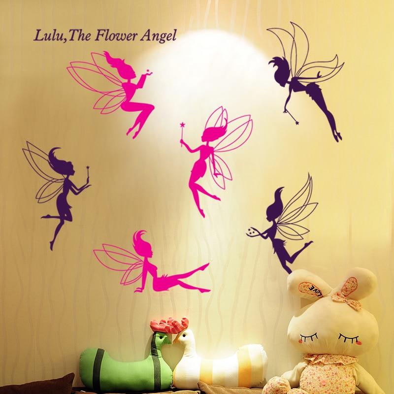 Pink Purple Lulu Flower Angel Girl Room Decal Wall Sticker Bedroom