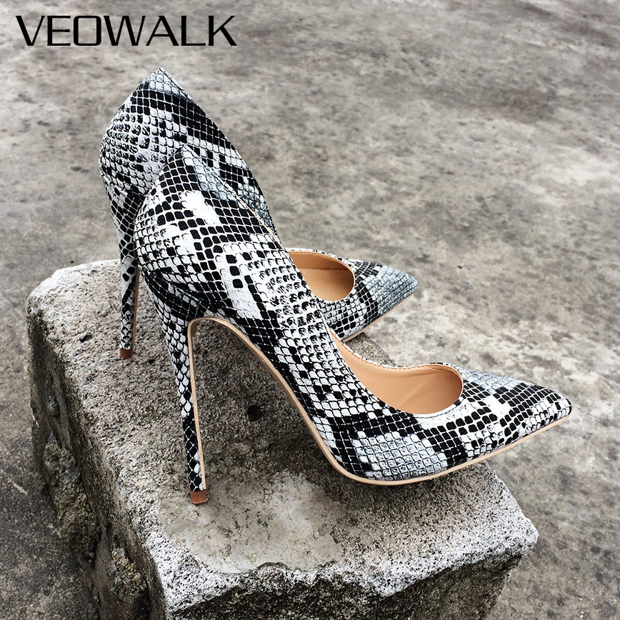 Veowalk Snake Printed Design Women Sexy Extreme High Heels 12/10/8cm Stiletto Pointed Toe Party Wedding Pumps Customized Accept