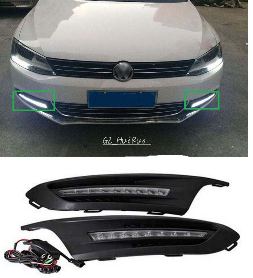 for 2012 2013 2014 Volkswagen VW Jetta Sagitar 9 LED DRL Daytime Running Light with projector lens, without fog lamp hole 2PCs 2x 9006 hb4 led projector fog light drl 12w no error for volkswagen golf 6 mk6 2011 2012 scirocco 08 on t5 transporter 2003 2016