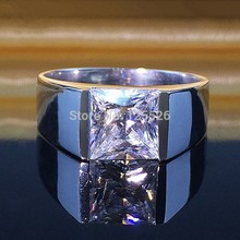 choucong Men's Princess cut 5A Zircon stone 925 Sterling Silver Engagement Wedding Ring Sz 8-12 Free shipping Gift