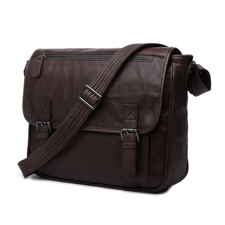 Nesitu High Quality Coffee Real First Layer Genuine Leather Cowhide Cross Body Men Messenger Bags Shoulder Bags #M7022 high quality men genuine leather shoulder bag first layer cowhide cross body designer male satchel business messenger bags new