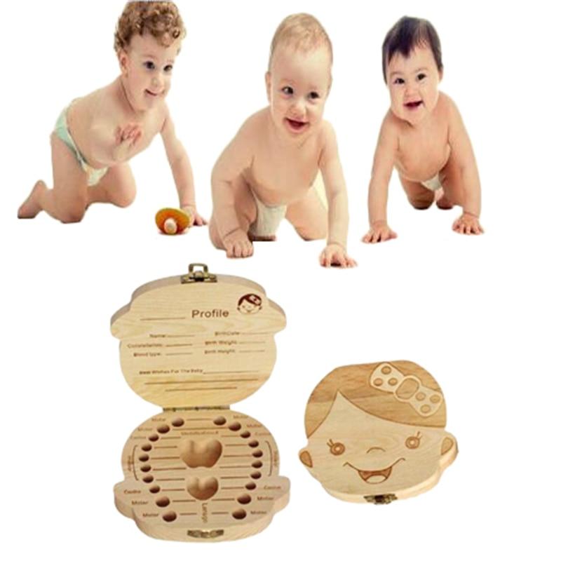 1PC Baby Teeth Box English/French/Spanish/Russian Text Baby Teeth Storage Wooden Milk Baby Boys Girls Organizer Souvenir Gift
