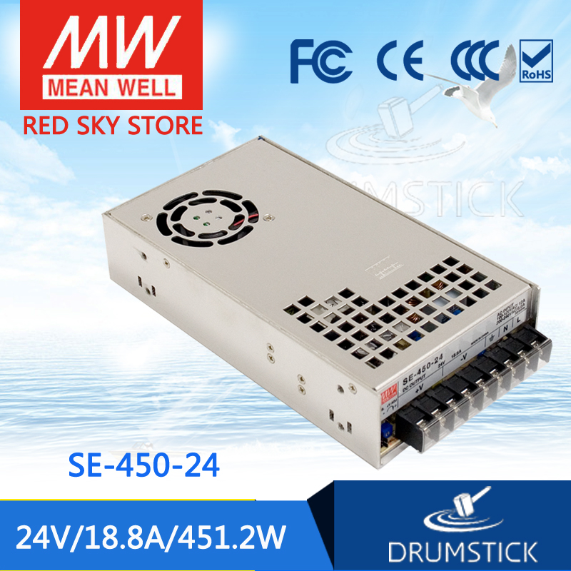 (Only 11.11)MEAN WELL SE-450-24 (2Pcs) 24V 18.8A meanwell SE-450 451.2W Single Output Power Supply only 11 11 selling hot mean well se 100 24 2pcs 24v 4 5a meanwell se 100 24v 108w single output switching power supply