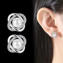 Pearl Stud Earrings for Women Rose Gold Earring Fashion Jewelry wedding earrings pair of stunning rose wedding earrings jewelry for women