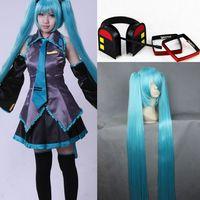 Girl Vocaloid Hatsune Miku Cosplay Costume Dress Full Set Headphone Hairpin Wig