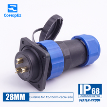 Sp28 Waterproof Cable Connectors 3pin 5pin 7pin 9pin 12pin 16pin 19pin 24pin IP68 Aviation Connector Plug and Socket Male Female