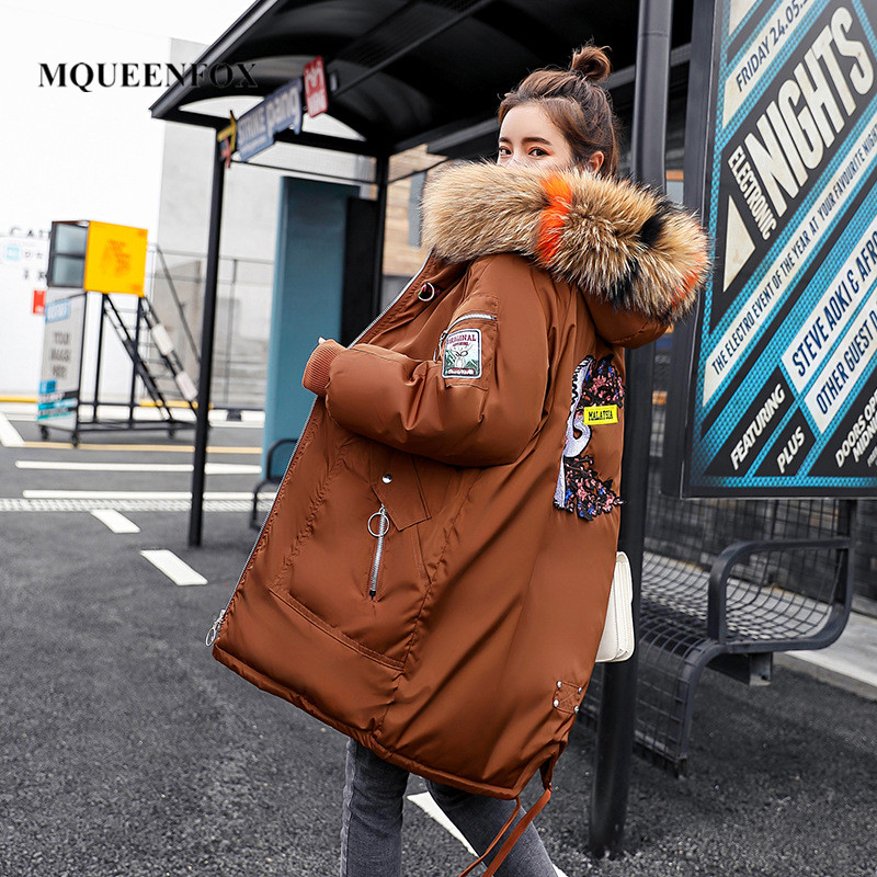 Parka   Women 2019 Winter Jacket fur Hooded down   parka   Coats Long Thick Cotton Padded Female   Parka   Outerwear Chamarras De Mujer