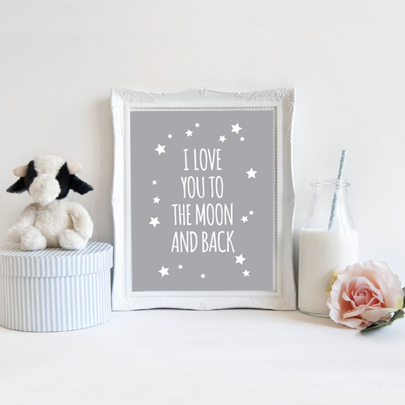 I Love You To The Moon And Back Wall Art online shop classic quote i love you to the moon and back nursery
