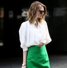 2015 women spring summer new high quality brand Slim puff shirt crop top and package hip pencil skirt 2 piece set dress D3553
