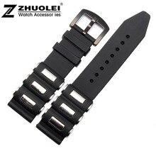 24mm Negro Caucho de Silicón Venda de Reloj de Acero Inoxidable Envuelto Pulseras
