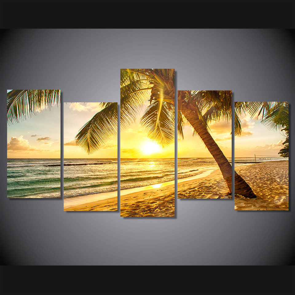 Canvas Home Decor Frame Painting Wall Poster 5 Panel Eiffel Tower ...