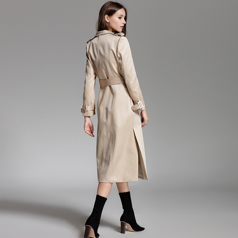 Col Femmes Khaki D'affaires down Lgp738 Manteau Haut Gamme Mode Tranchée Nouveau Femme 2018 Ceinture Turn Long Mince Automne De Décontractée Pardessus BPCppw