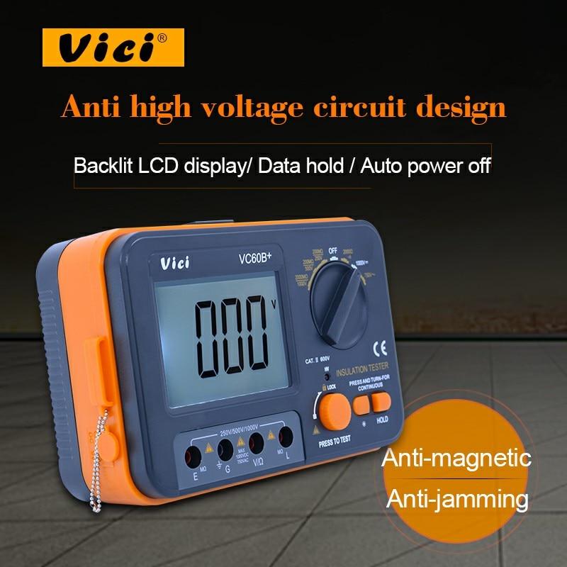 VC60B+Digital Insulation Resistance Tester Megger DC 250V/500V /1000V High voltage and short circuit alarm buzzer alarm function as907a digital insulation tester megger with voltage range 500v 1000v 2500v